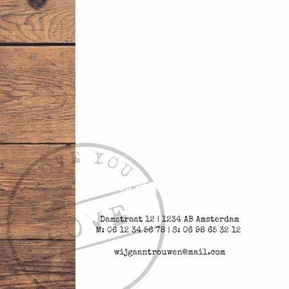 Trouwkaart hout foto stempel 2