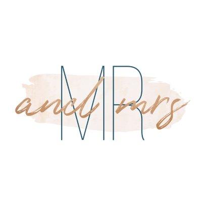 Trouwkaart 'Mr and mrs' met goudlook en waterverf 2
