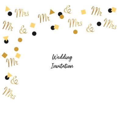 Trouwkaart Mr. & Mrs. in goud confetti 2