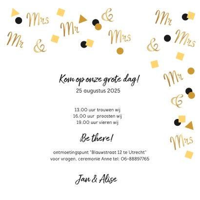 Trouwkaart Mr. & Mrs. in goud confetti 3