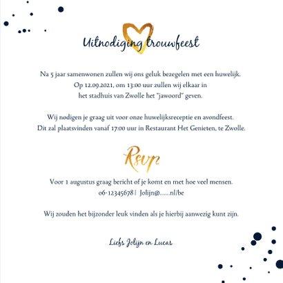 Trouwkaart Mr & Mrs stijlvol met goud 3
