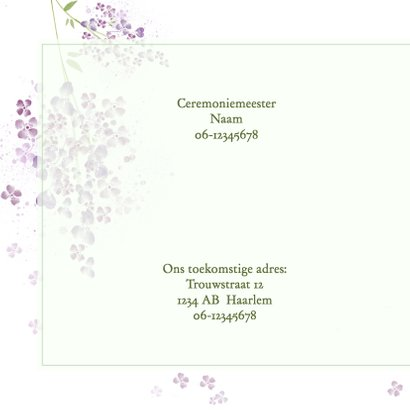 Trouwkaart paarse seringen 2