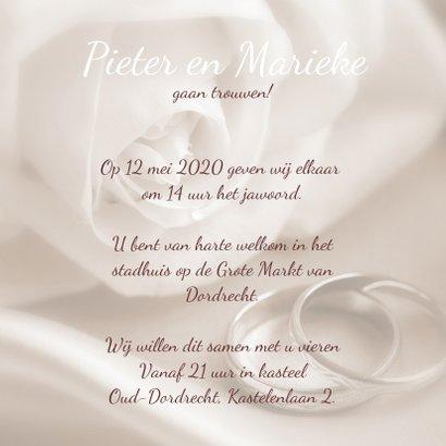 Trouwkaart roos en ringen 3