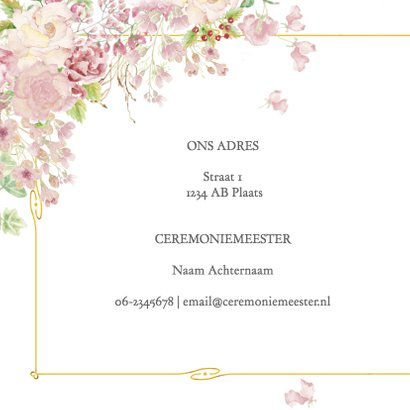 Trouwkaart roosjes met kader 2