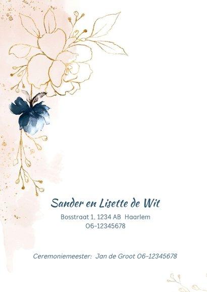Trouwkaart rozen blauw-roze-goud 2