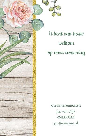 Trouwkaart rozen houtlook 2