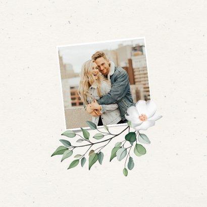 Trouwkaart Save the date botanisch met fotocollage 2