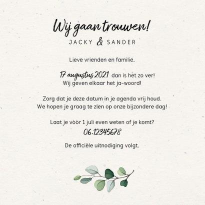 Trouwkaart Save the date botanisch met fotocollage 3