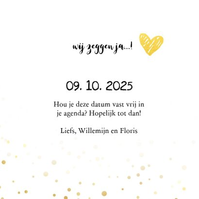 Trouwkaart save the date goud met foto 3