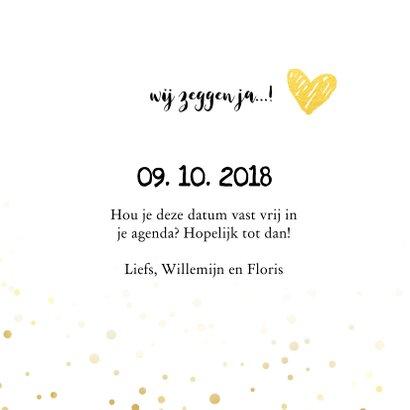 Trouwkaart save the date goud met foto 3