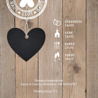 Trouwkaart typografie hartje houtlook 2