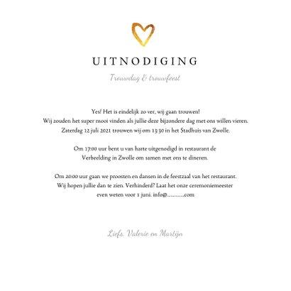 Trouwkaart wedding stijlvol en klassiek met goud en foto 3