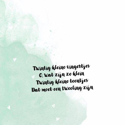 Tweeling geboortekaartje watercolor meisje jongen - LO 2