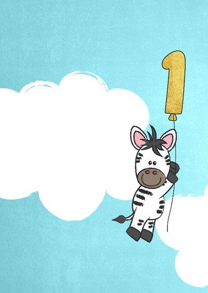 Uitnodiging 1e verjaardag lief en schattig zebra met ballon 2