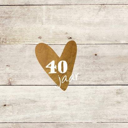 uitnodiging 40 jaar  - hout print LO 2
