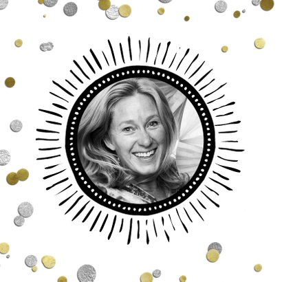 Uitnodiging 50 jaar ballon zilver en confetti 2