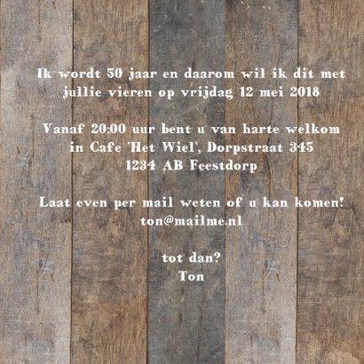 Uitnodiging 50 jaar - hout met label 3