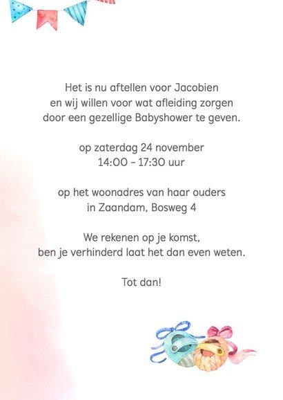 Uitnodiging babyshower blauw/roze 3