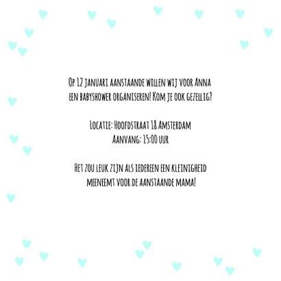 Uitnodiging babyshower hartjes en tekst 2