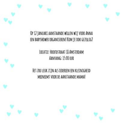 Uitnodiging babyshower hartjes in blauw 2