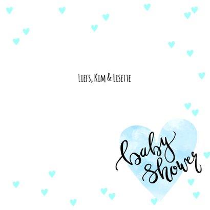 Uitnodiging babyshower hartjes in blauw 3