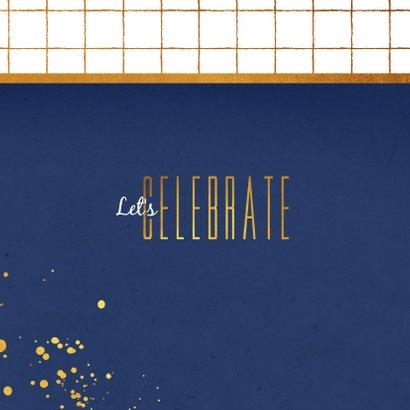 Uitnodiging borrel feestje hip goud blauw 2