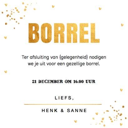 Uitnodiging kerstborrel goud confetti vierkant 3