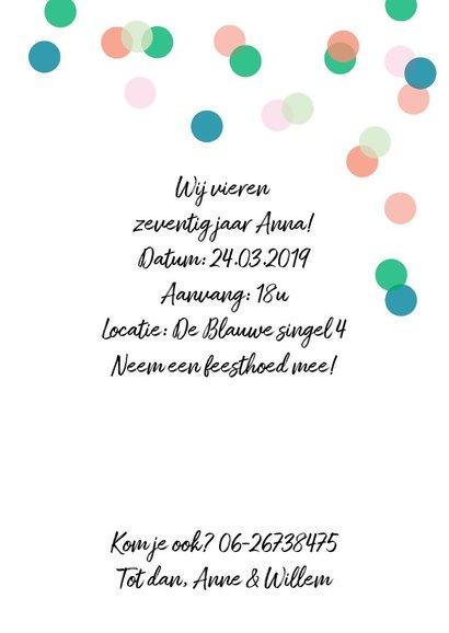 Uitnodiging feestje eigen foto confetti 3