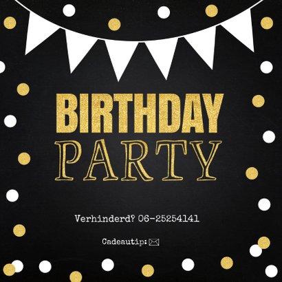 Uitnodiging feestje fotocollage confetti goud krijtbord 2