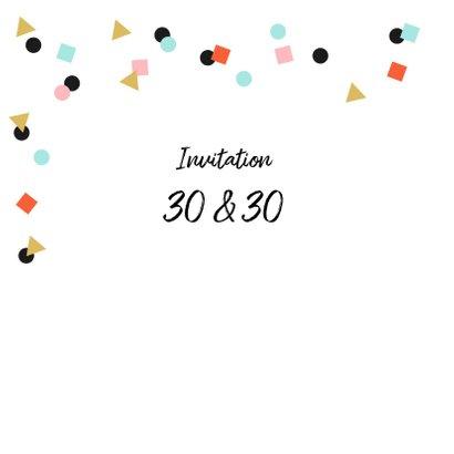 Uitnodiging feestje goud zwart confetti vrolijk 2