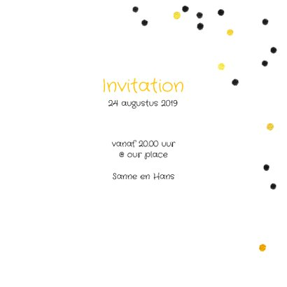 Uitnodiging feestje hip goud confetti 3