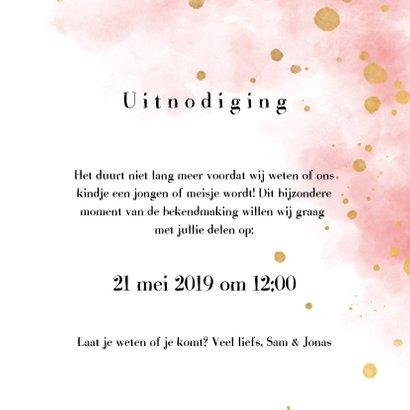 Uitnodiging gender reveal party met gouden confetti 3