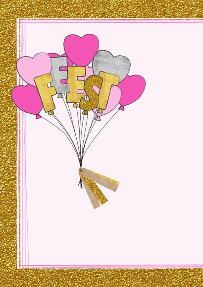 Uitnodiging glitter en glamour ballonnen en hartjes 2
