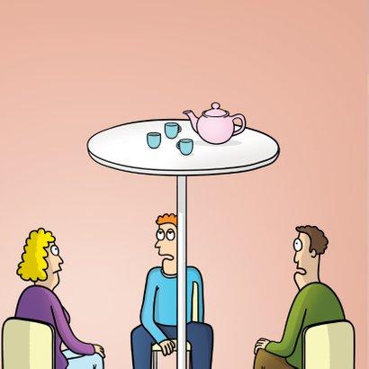 Uitnodiging high tea met grappige cartoon 2