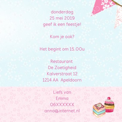 Uitnodiging High Tea stolp taartjes 3