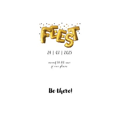 Uitnodiging kaart feestje goud confetti 3