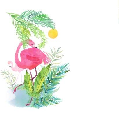 Uitnodiging kinderfeestje flamingo en tropische bloemen 2