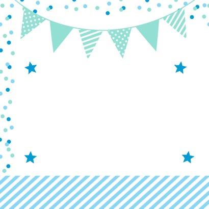 Uitnodiging kinderfeestje foto vakken blauw 2