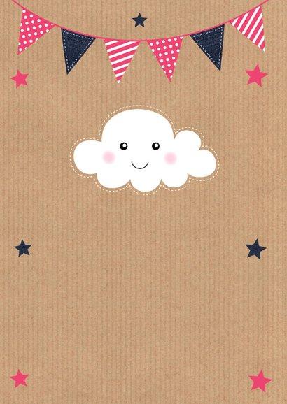 Uitnodiging kinderfeestje fotocollage kraft wolkje meisje 2