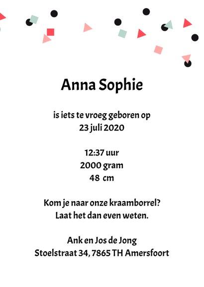Uitnodiging Kraamborrel meisje confetti met foto 3