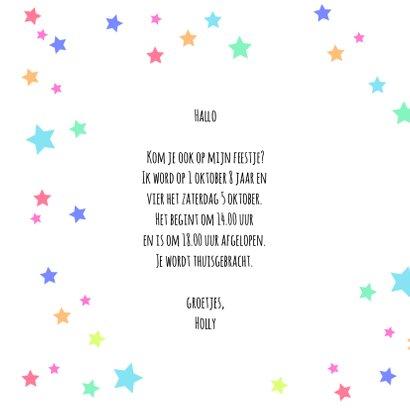 Uitnodiging met eenhoorn en sterren 2