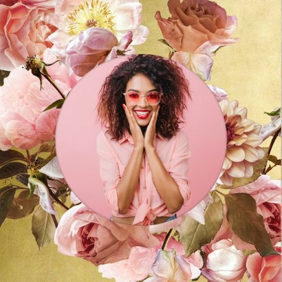 Uitnodiging met klassiek bloem boeket roze 2