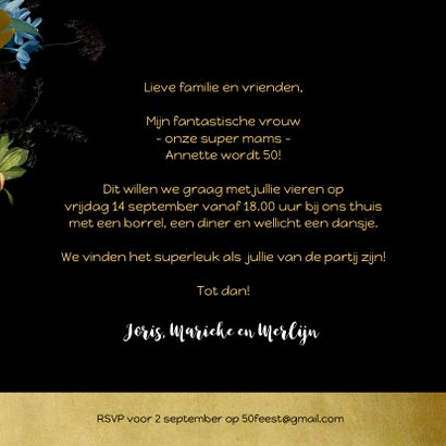 Uitnodiging modern klassiek bloem stilleven met goud 3