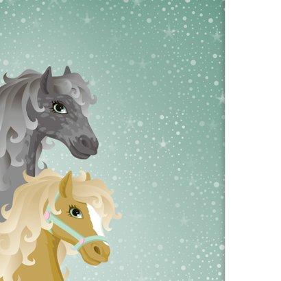 Uitnodiging paarden meisje roze eigen foto 2
