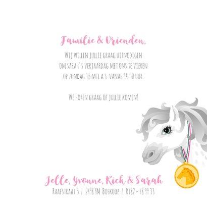Uitnodiging paarden meisje roze eigen foto 3