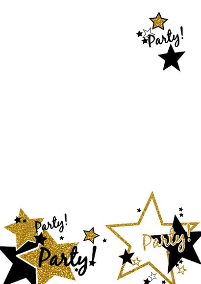 Uitnodiging party glitters ster 3