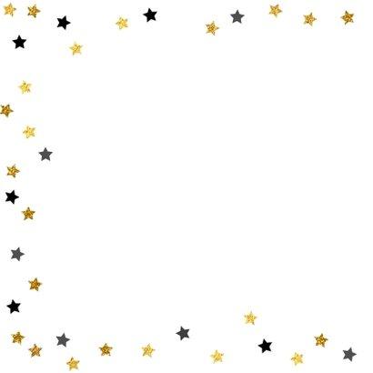 Uitnodiging Party-Time tekst borden en sterren goud 2