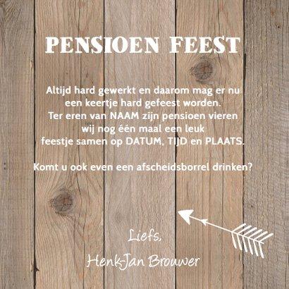 Uitnodiging pensioen eigen foto houtprint 3