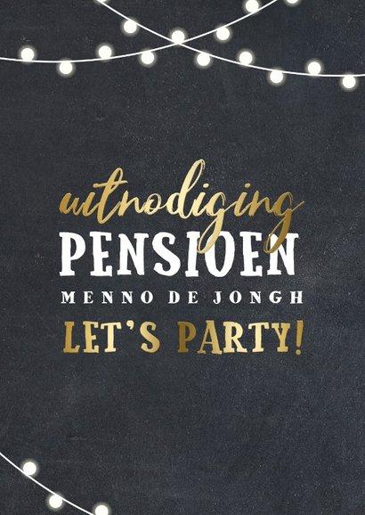 Uitnodiging pensioen lampjes goud met foto 2