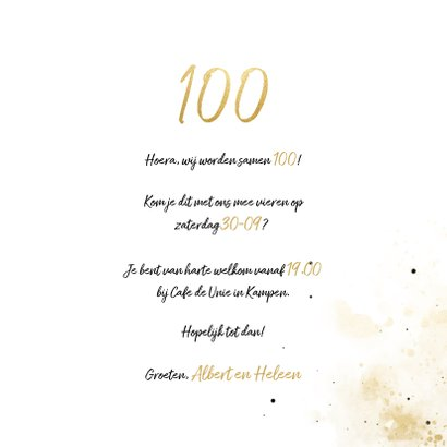 Uitnodiging 'samen 100' met spetters en foto 3